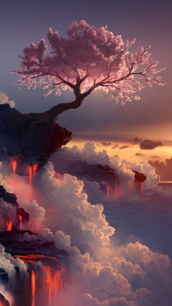 Fantasy-Pink-Cherry-Blossoms-Cloudy-Mountain-Top-Skyscape-Paint-Art-iPhone-6-plus-wallpaper-ilikewallpaper_com