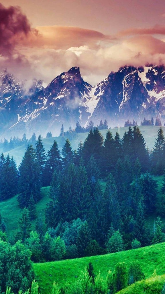 Forest-Hills-Snowy-Mountains-And-Sunset-Clouds-iphone-6-wallpaper-ilikewallpaper_com
