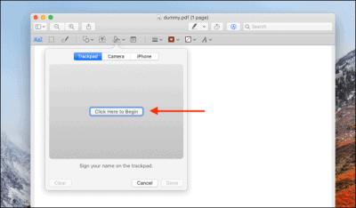 توقيع ملفات PDFs على ماك باستخدام لوحة التعقب